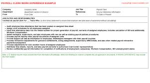 Payroll Resume Template Workday Integration Payroll Cv Work Experience Samples