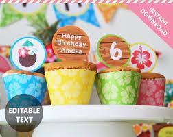 Luau Cake Decorations Luau Cupcake Toppers Etsy