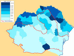 Romania Blank Map by Jewish Population Per County In Greater Romania 1930 According