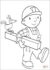 bob builder holding wood coloring free printable