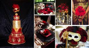 Red And Gold Reception Decoration Masquerade Wedding Decoration Ideas Vivo Masks