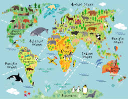World Map With Antarctica by Cartoon World Map With Landscape And Animal Vector Illustration
