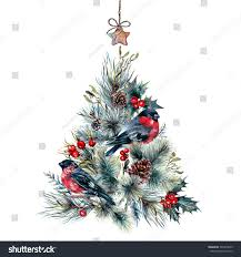 watercolor christmas tree made coniferous branches stock