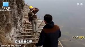 Plank Construction Style J Aaron Gutsy Construction Workers Scale Cliffs Via Wooden Planks Daily