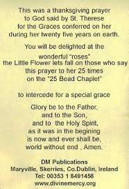 Prayer To St Therese The Little Flower - rosary beads st theresa 25 glory be chaplet