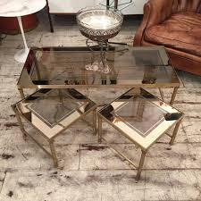 table basse bout de canapé table basse et ses bout de canapé doré circa 1970 tables basses