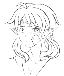 sketch elf face oc archer or caster by yamibaal on deviantart