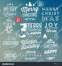 collection christmas decoration typographic design labels stock