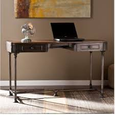 Small Desk Brown Small Desk Writing Table Rustic Wood Industrial Metal Legs Home
