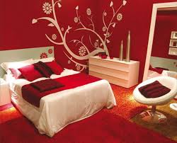 Red Bedroom Color Schemes I Love The Print On The Back Wall - Dark red bedroom ideas