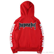 justin bieber hoodies mens sweatshirt purpose tour red long sleeve