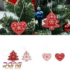 24x tree decorations wooden shabby chic nordic vintage