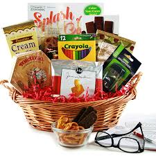 gift packages coloring book tasty snacks gift basket