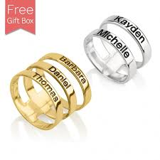 name rings for 24k gold plated layered name ring rsnamenecklace