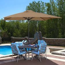 Olefin Patio Umbrella Island Umbrella Caspian 8 Ft X 10 Ft Rectangular Market Push
