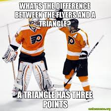 Flyers Meme - what s the difference between the flyers and a triangle a