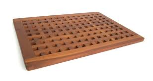 bathroom cozy shower decor ideas with teak wood shower mat for