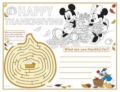disney thanksgiving placemats to download and color thanksgiving