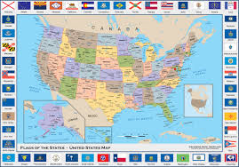 Alaska Usa Map by Flags Of The States United States Political Wall Map