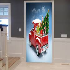 christmas car tree pattern door stickers red cm pcs in wall christmas car tree pattern door stickers red 38 5 200cm 2pcs