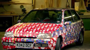 car wrapped in wrapping paper top gear may s wrapped ford xr2i