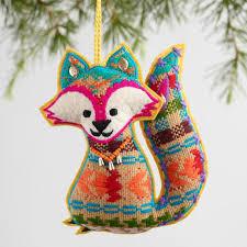 jacquard fabric fox ornaments set of 4 world market