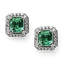 emerald earrings uk emerald earrings 1 4ct octagon emerald and diamond cluster earrings
