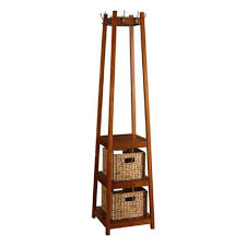 amazon com coat rack stand wood with three shelves and two