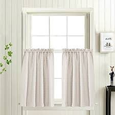 Waterproof Bathroom Window Curtain Amazon Com Waffle Weave Textured Tier Curtains For Kitchen Water