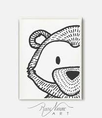 stylish black u0026white bear face wall art print from woodland to a