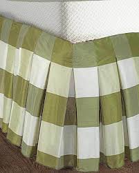ds ivory green buffalo checked faux silk inverted pleat bed skirt