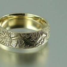 scottish wedding rings mens scottish wedding bands thistle gold band wedding ring mens