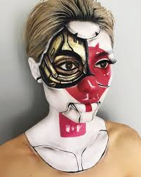 halloween illusion woman gives up teaching to create optical illusions with makeup