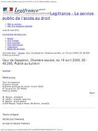 chambre sociale de la cour de cassation cour de cassation chambre sociale du 19 avril 2005 02 46 295