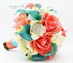 coral boutonniere coral ivory aqua bridal bouquet rhinestone brooches wedding