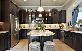 Amish Built Kitchen Cabinets by Glass Countertops Dark Wood Cabinets Kitchen Lighting Flooring