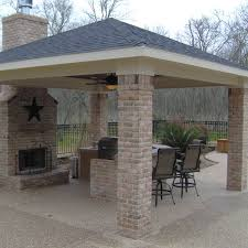 Backyard Porches Patios - comfortable covered porch with adjacent grilling station patio