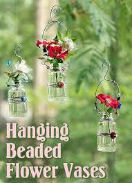 Beaded Vases Hanging Beaded Glass Flower Vases Pretty Handy