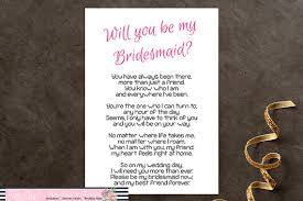 bridesmaid poems to ask will you be my bridesmaid printable poem bridesmaid