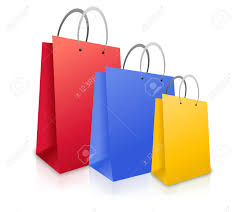 three colorful shopping bags red blue and yellow are standing