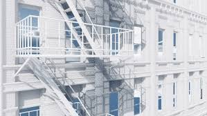 Decorative Definition Close Up Of Fire Escape Ladder On Abstract White Residential