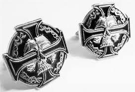 celtic iron cross skull german biker harley sniper cufflinks cuff