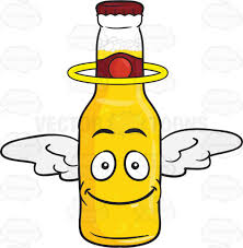 beer bottle cartoon smiling bottle of beer with halo and wings emoji cartoon clipart