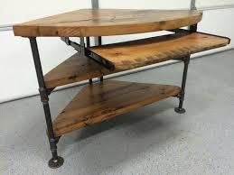 Solid Wood Corner Desk Reclaimed Wood Corner Table Desk Solid Oak W Black Iron Pipe