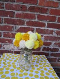 Yellow Pom Pom Flowers - 24 small yellow pom pom flowers yellow от theflowercraftshop