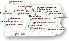 pennsylvania state map alphabetically listing of all of the pa state parks this map of