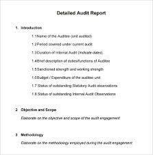 Auditor Sample Resume by 14 Internal Audit Report Templates U2013 Free Sample Example Format