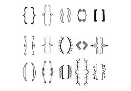 set of decorative brackets free vector stock