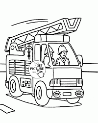fire truck fireman coloring kids transportation