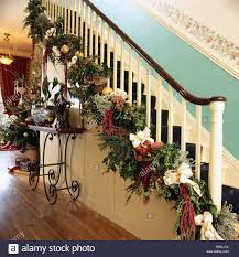 Banister Christmas Garland Christmas Garland Staircase Stock Photos U0026 Christmas Garland